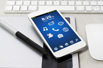 Tech device mock up on office background