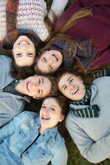 Five Teens Close Together
