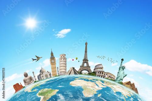 Leinwanddruck Bild Illustration of famous monument of the world