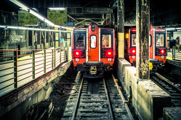 Train in subway tunnel at Grand Central Terminal in NYC