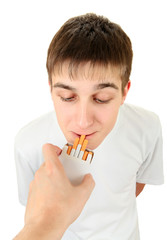 Teenager take a Cigarette
