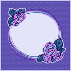 Decorative frame with roses on polka dot background.