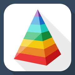 Color layered pyramid with long shadow