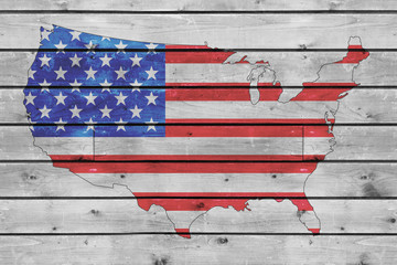 usa flag map on wood texture background