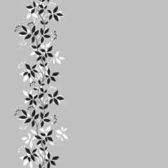 Seamless border with abstract leaves