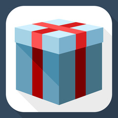 Gift box icon with and long shadow