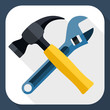 Hammer and wrench icon with long shadow