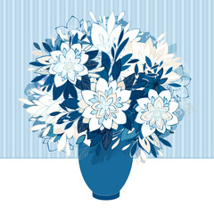 Decorative bouquet in vase. Vector illustration