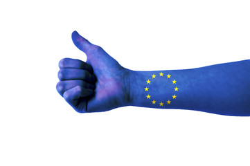 Main avec pouce levé, drapeau Union européenne