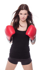 Healthy sporty boxer girl in white background.