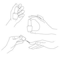 Manicure, womens hands, nail polish vector set