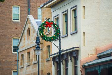 Christmas ring hang on streetlights