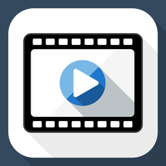 Media player flat icon with long shadow