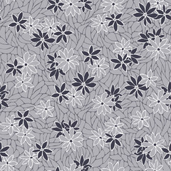 Seamless pattern with decorative flowers and lace texture.