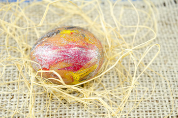 Hand painted Easter egg and straws
