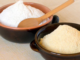 Wheat flour and maize flour, stone ground rustic nutrition. With
