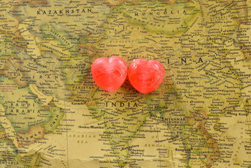 Sweet heart candy present love in old India map