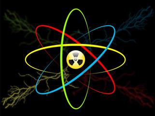 Atom symbol. Vector atom radiation