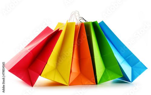 Leinwandbild Motiv Paper shopping bags isolated on white background