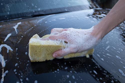 Leinwanddruck Bild Auto waschen
