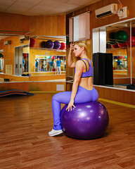 Girl in fitness with fitball