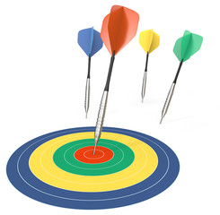 Performance.4 Dart arrows. One hitting target. Color theme.