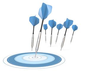 Success.4 Dart arrows. One hitting target. Blue theme.