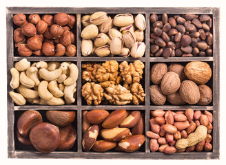 Box of nuts isolated