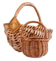 Two handmade basket isolated