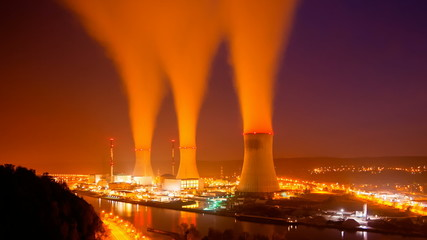 Nuclear Power Station At Night Long Exposure Time Lapse