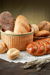 Wicker basket with assortment of fresh baked bread