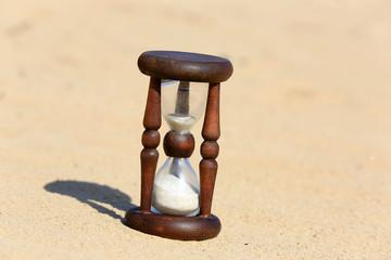 Hourglass in desert