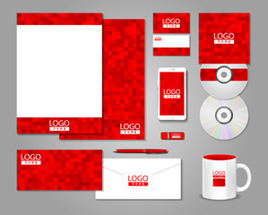 Red corporate identity template design