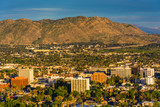 Evening light on on distant mountains and the city of Riverside,