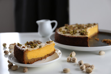 Pumpkin cheesecake with pistachio / Healthy colourful dessert