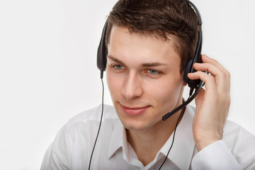 Portrait of male customer service representative or call center