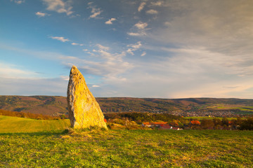 Menhir on the hill at sunset in Morinka village