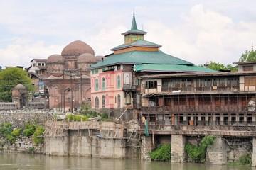 Mosques at Jahelum river in Srinagar, Kashmir