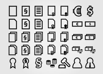 document icons symbols flat design outline