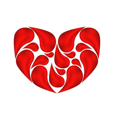 Abstract heart made of drops blood