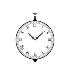 Vintage clock with vignette arrows