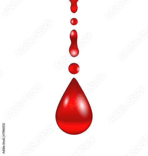 Fototapeta Stream of blood falling down, isolated on white background