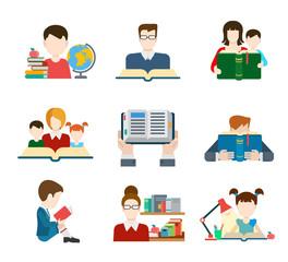 Flat style education people icon set