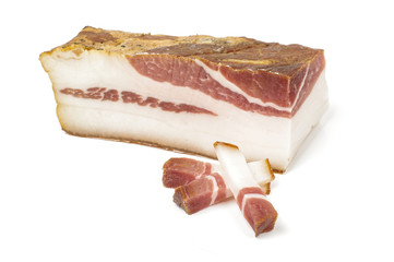Smoked bacon and three sliced peaces isolated on the white