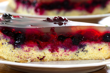 Jelly cake with fruits, raspberry blueberry, blackberry