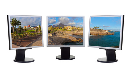 Tenerife island (Canary) in computer screens