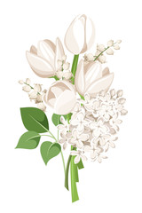Bouquet of white tulips, lilac flowers and lily of the valley.