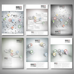 Timeline, abstract network and world map with pointer marks