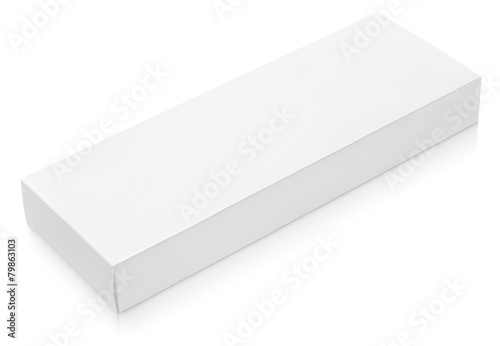 Flat long cardboard box template for chocolate on white - 79863103
