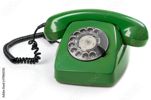 Green retro telephone - 79863313